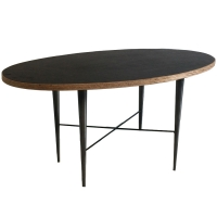 Cuir oval table.